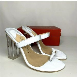 Women's Square Heel Silver Gray Sandals Size 8